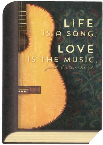 """Foto mit Gitarre und Text """"Life is a Song - Love"""
